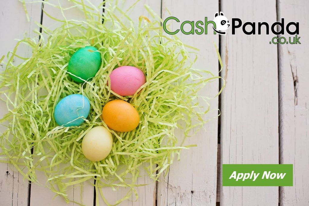 5 colored eggs in basket